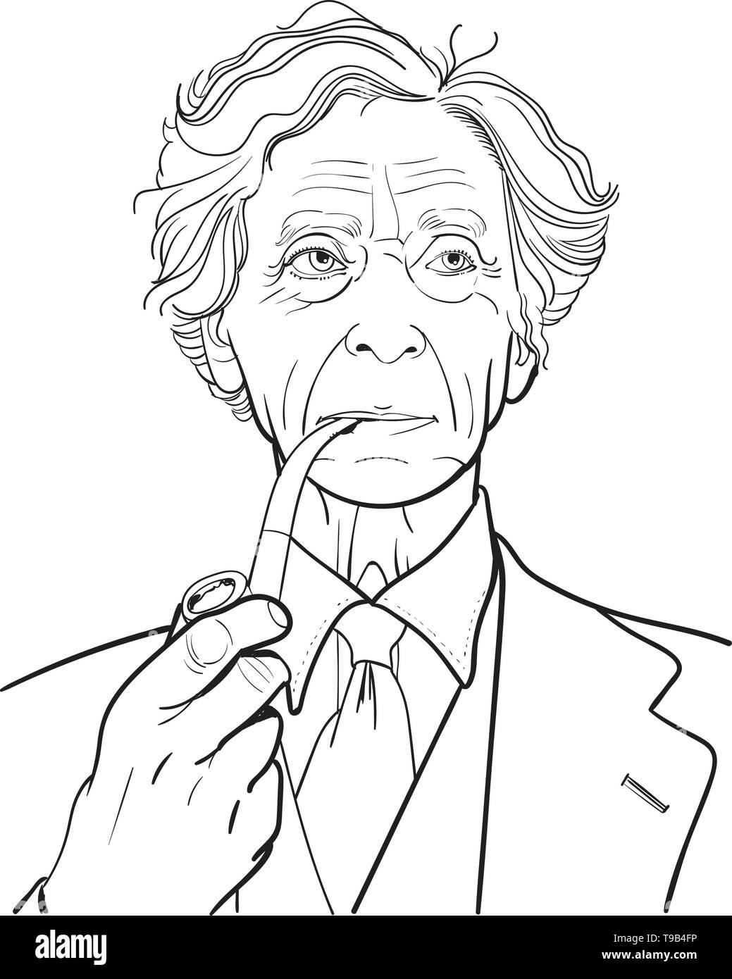 Bertrand Arthur William Russell, was a British philosopher, logician, mathematician, historian, writer, essayist, social critic, political activist, a - Stock Image
