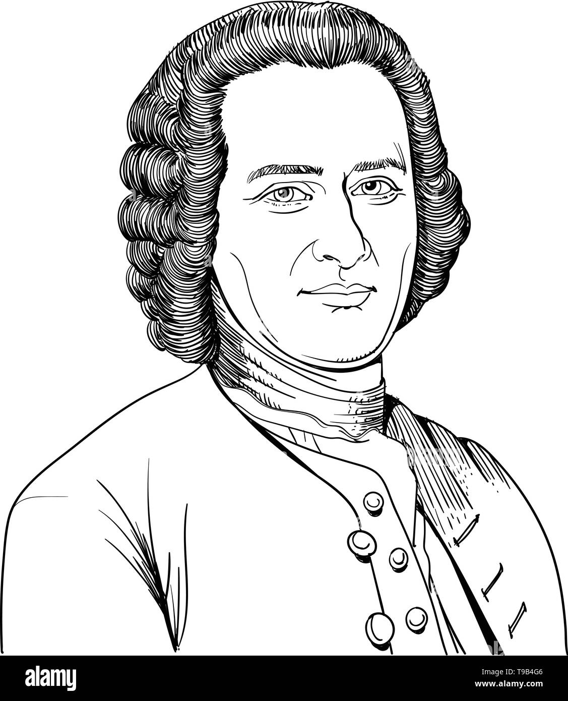 Jean Jacques Rousseau portrait in line art illustration. He was a philosopher, writer, and composer. Stock Vector