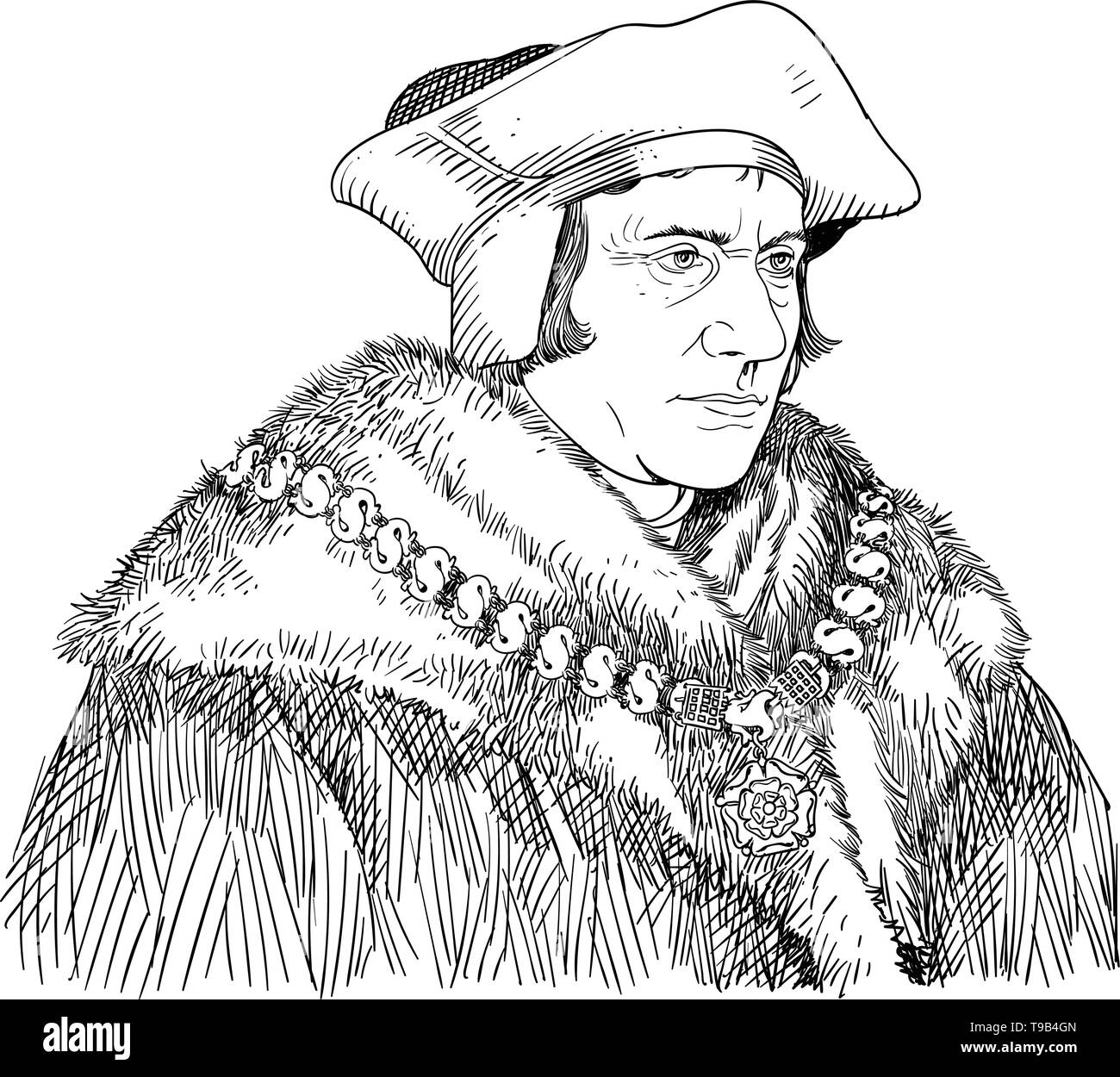 Sir Thomas More portrait in line art illustration. He was an English lawyer, social philosopher, author, statesman and noted Renaissance humanist. - Stock Image