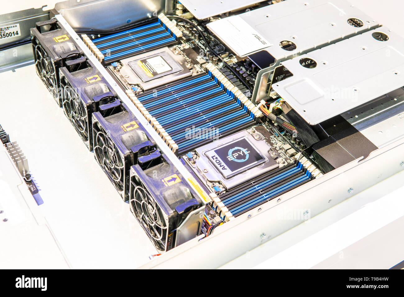 Berlin, Germany, August 31, 2018, Asus server with AMD Epyc CPU at AMD exhibition pavilion showroom, stand at Global Innovations Show IFA 2018 - Stock Image