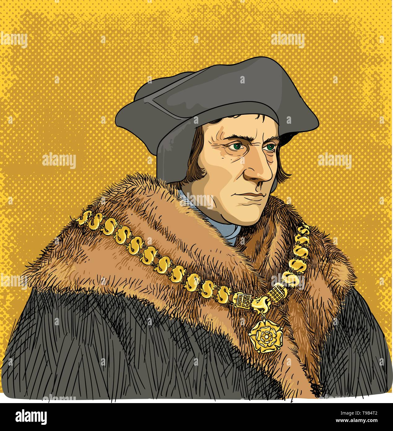 Sir Thomas More portrait in line art illustration.Hhe was an English lawyer, social philosopher, author, statesman and noted Renaissance humanist. - Stock Image