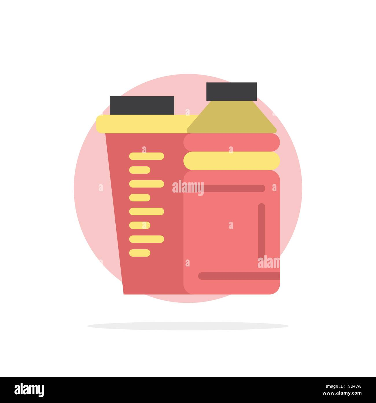 Bottle, Drink, Energy, Shaker, Sport Abstract Circle Background Flat color Icon - Stock Image