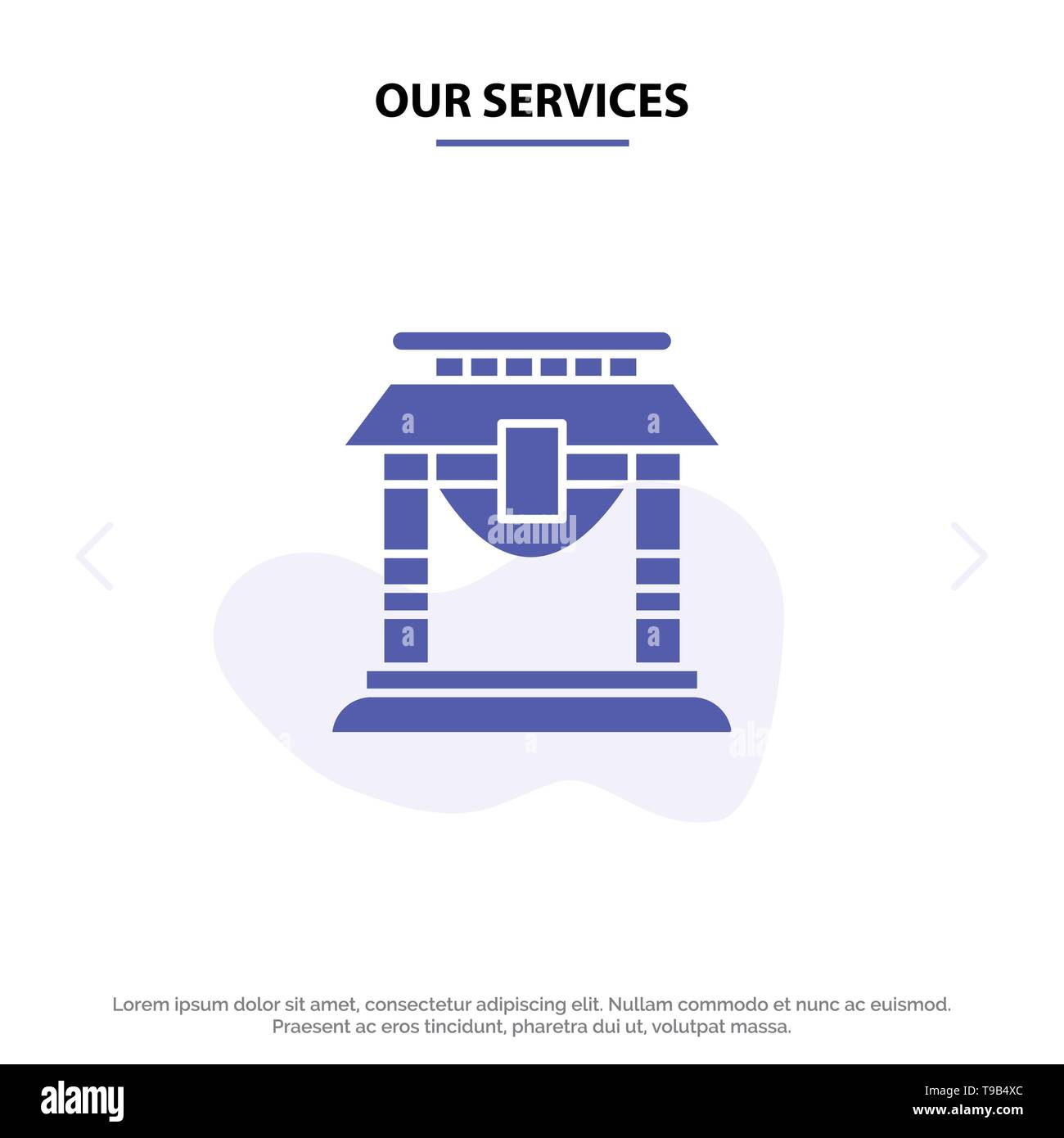 Our Services Door, Bridge, China, Chinese Solid Glyph Icon Web card Template - Stock Image