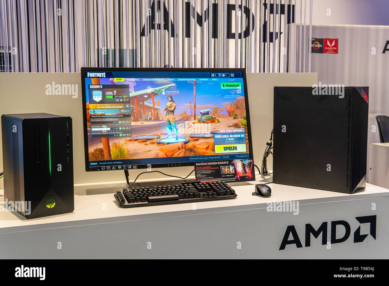 Berlin, Germany, August 31, 2018, AMD PC Computer with Ryzen CPU, Radeon GPU graphic card at AMD exhibition showroom at Global Innovations Show IFA - Stock Image