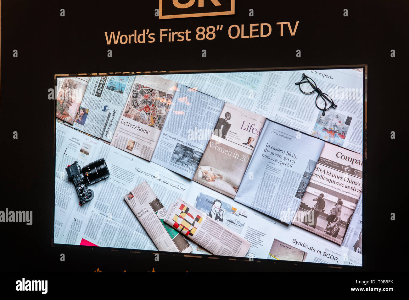 Berlin, Germany, August 31, 2018, LG 8k 88' Smart OLED Premium TV on display, at LG exhibition showroom, stand at Global Innovations Show IFA 2018, - Stock Image
