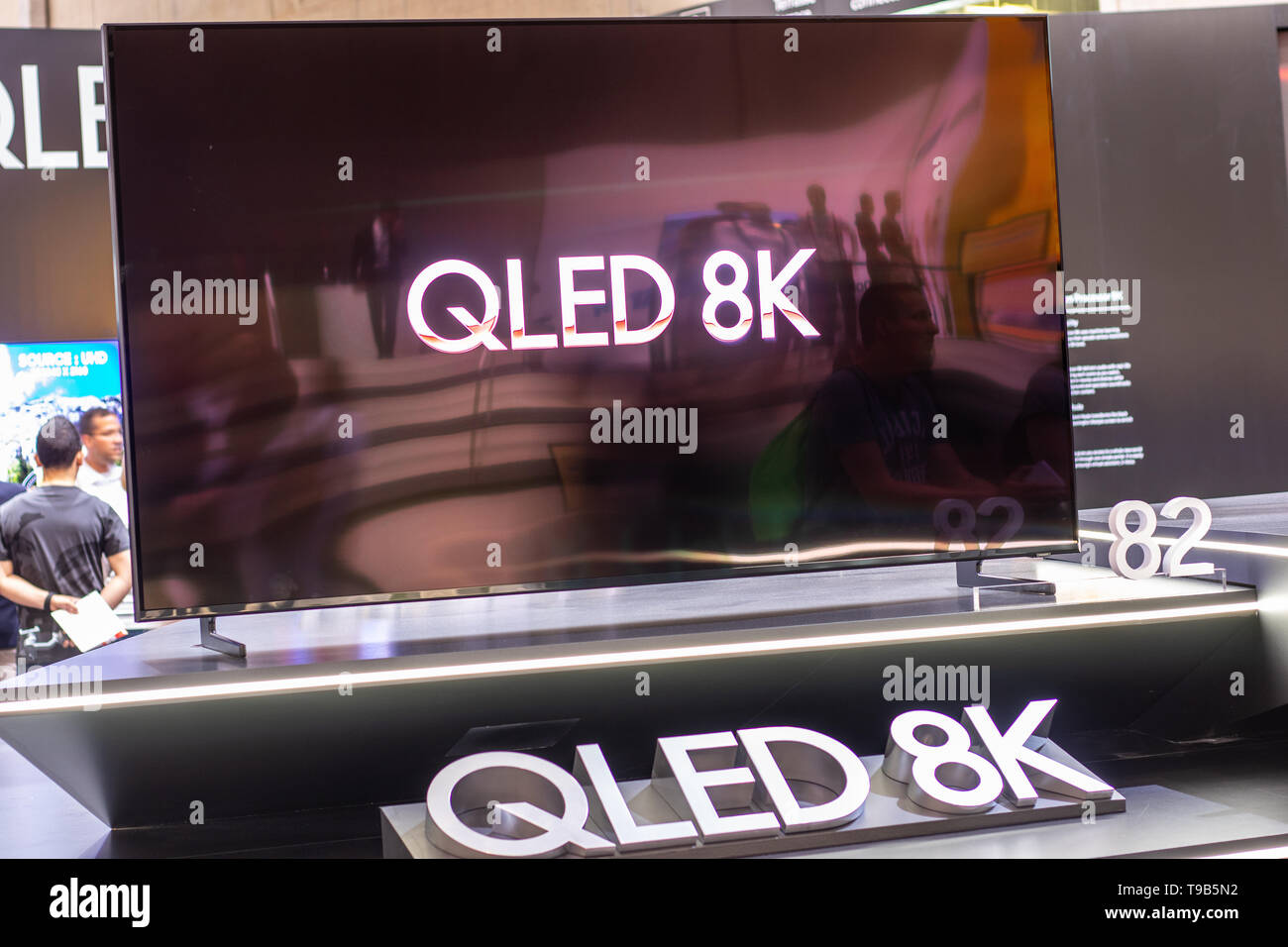 Berlin, Germany, Sep 02, 2018, Samsung QLED 8K HDR 82inch Smart TV on display, Samsung exhibition showroom, stand at Global Innovations Show IFA 2018, - Stock Image