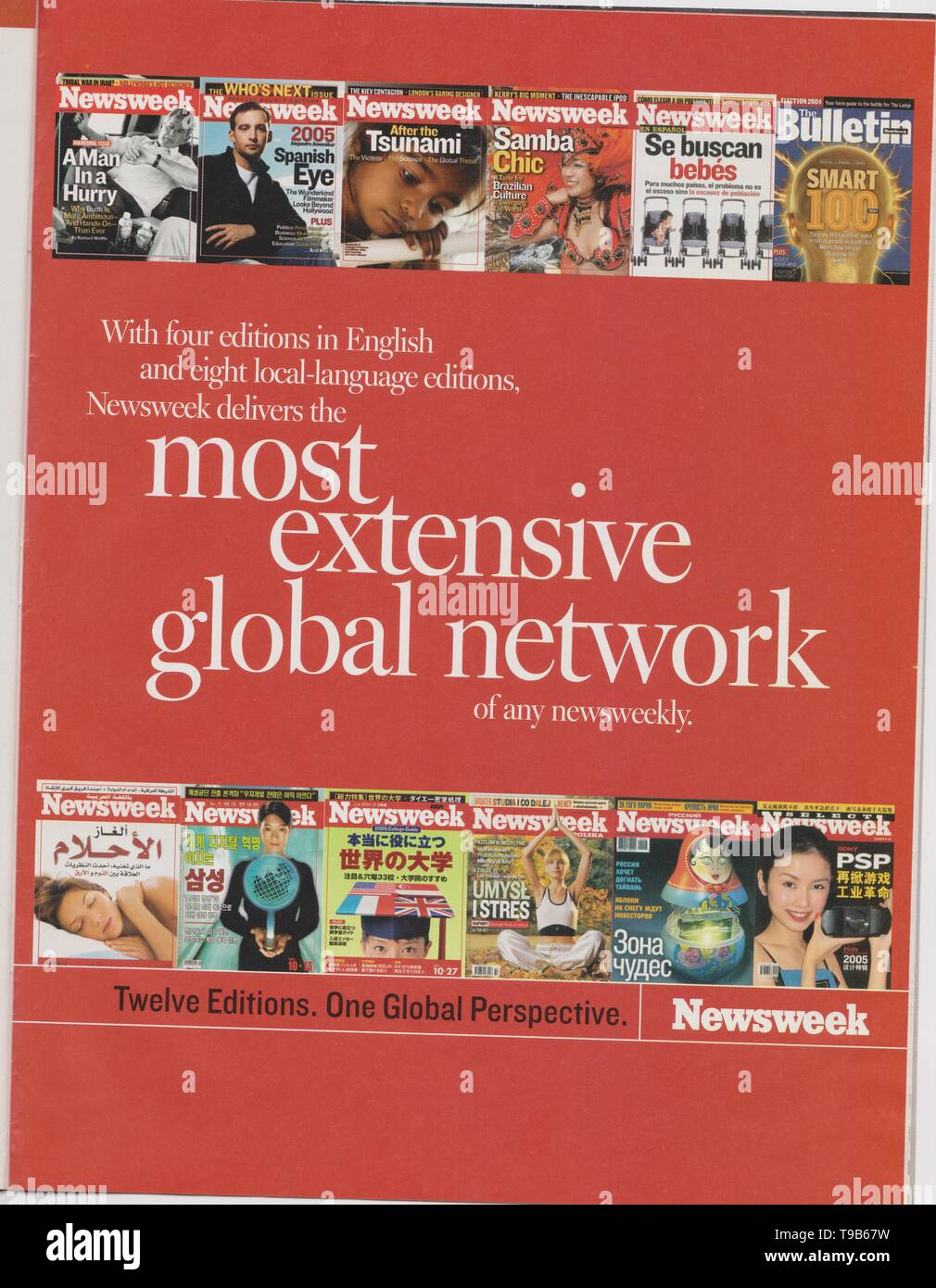 Lodz, Poland, April 13, 2019 poster advertising of Newsweek in magazine from October 2005, most extensive global network slogan, advertisement - Stock Image