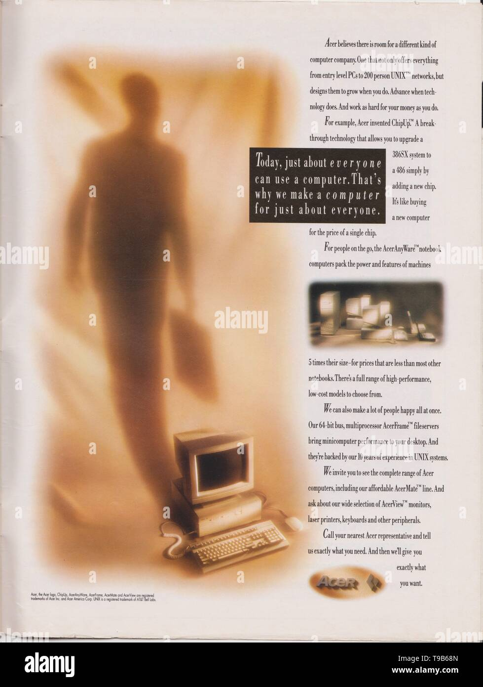 Lodz, Poland, April 13, 2019 poster advertising Acer computer 386 486 processor chip in magazine from 1992, Today just about everyone can use computer - Stock Image