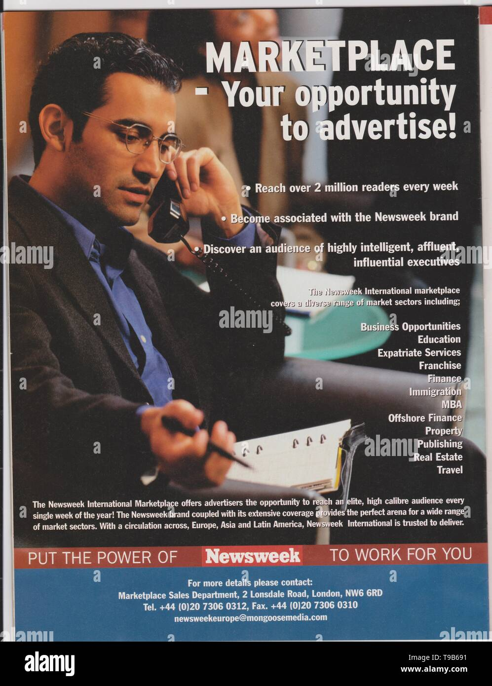 Lodz, Poland, April 13, 2019 poster advertising of Newsweek Marketplace in magazine from October 2005, your opportunity to advertise! slogan, advert - Stock Image