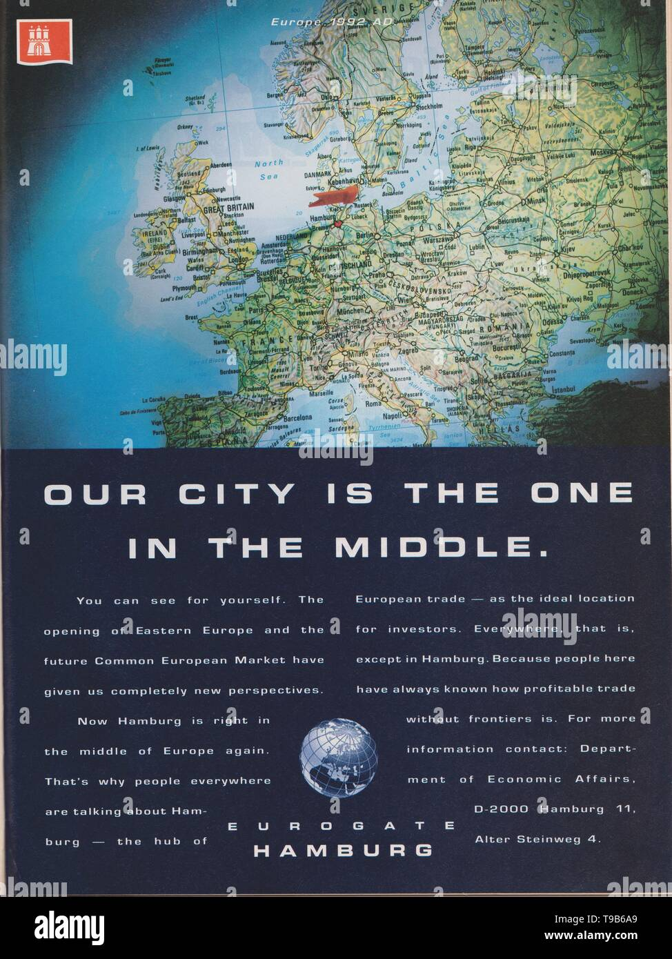 Lodz, Poland, April 14, 2019 poster advertising Eurogate Hamburg in magazine from 1992, Our city is the one in the middle slogan, advertisement - Stock Image