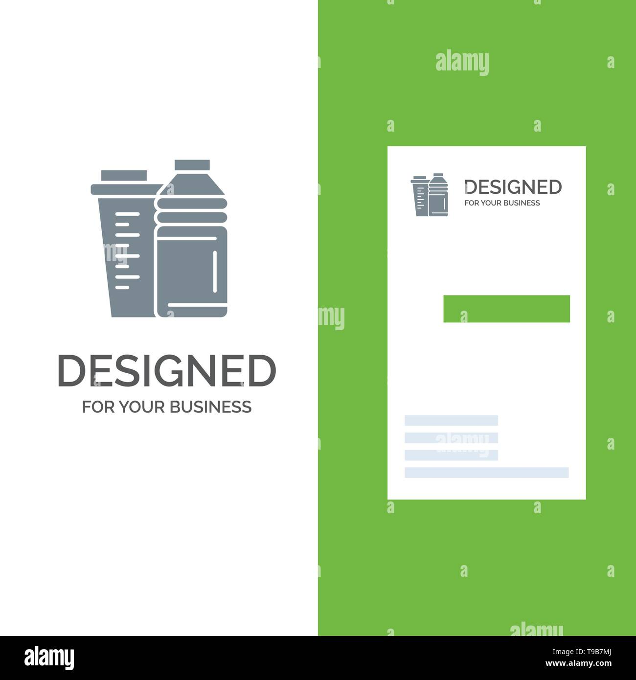 Bottle, Drink, Energy, Shaker, Sport Grey Logo Design and Business Card Template - Stock Image