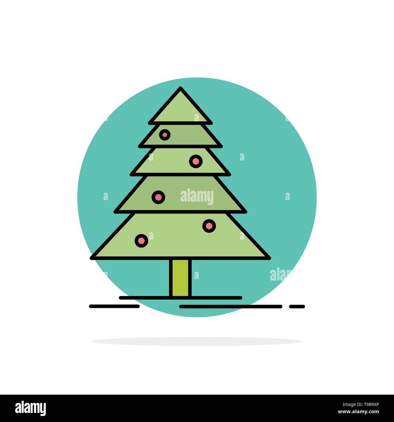Tree, Forest, Christmas, XMas Abstract Circle Background Flat color Icon - Stock Image