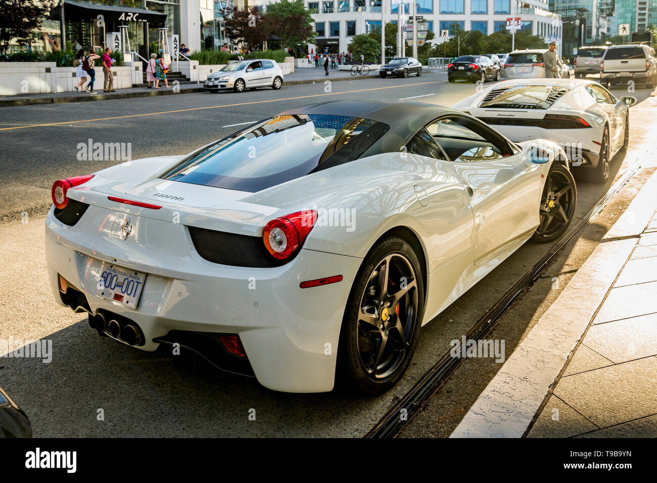 Luxury Cars Ferrari And Lamborghini Parked Downtown Vancouver British Columbia Canada Licence Plate Digitally Altered Stock Photo Alamy