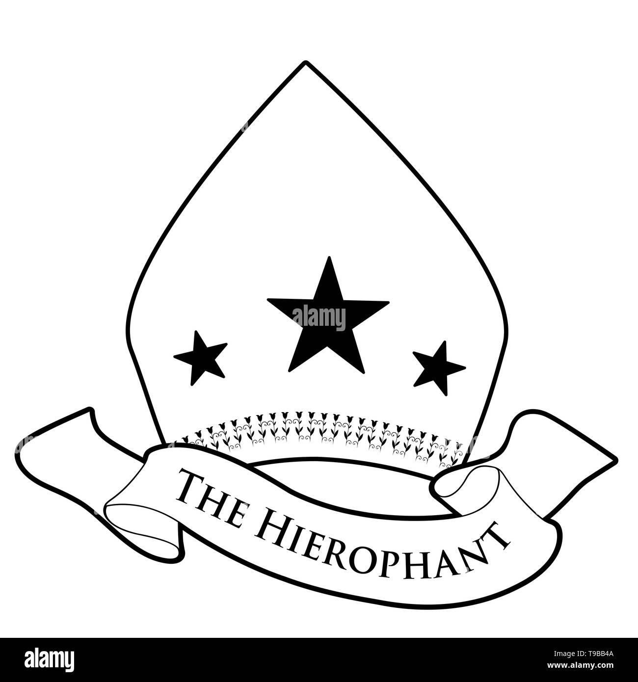 Tarot Card Concept. The Hierophant. Pope miter with stars and banner text isolated on white background - Stock Image