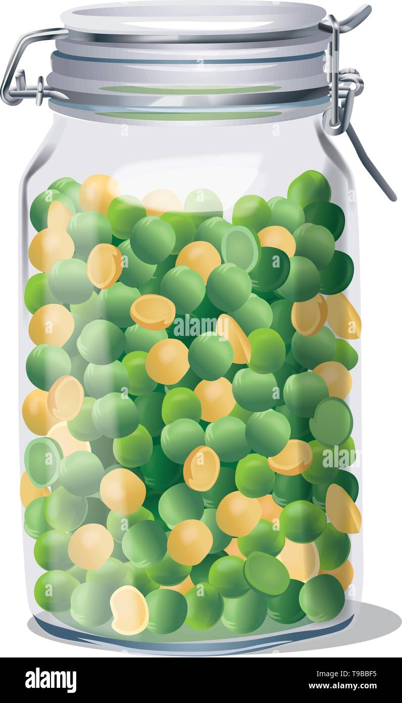 Glass jar with lid and peas inside. Isolated. Vector - Stock Vector