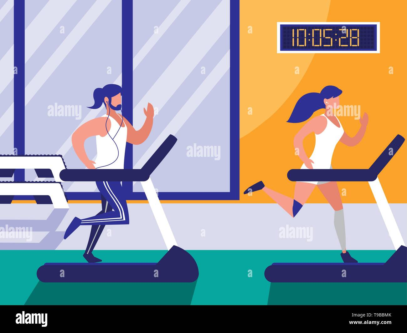 couple with runner machine in gym vector illustration design - Stock Image