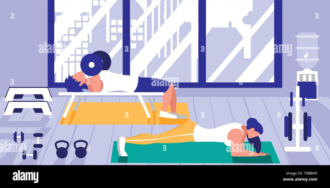 young athletic couple doing chest push ups in gym vector illustration design - Stock Image
