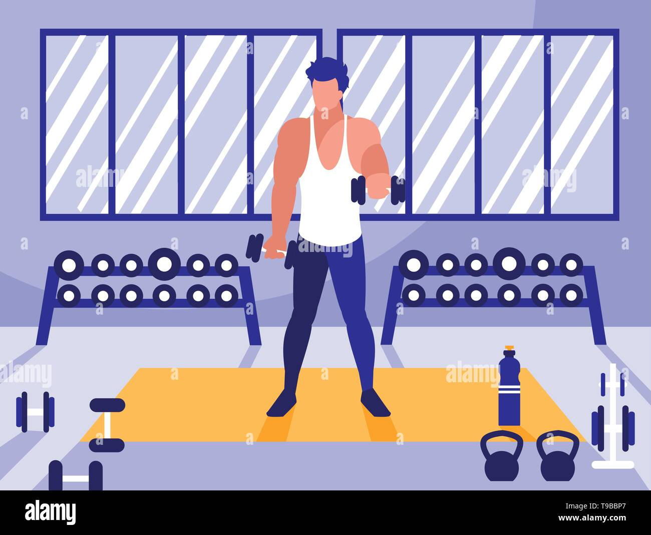 young man lifting dumbbells in gym vector illustration design - Stock Image