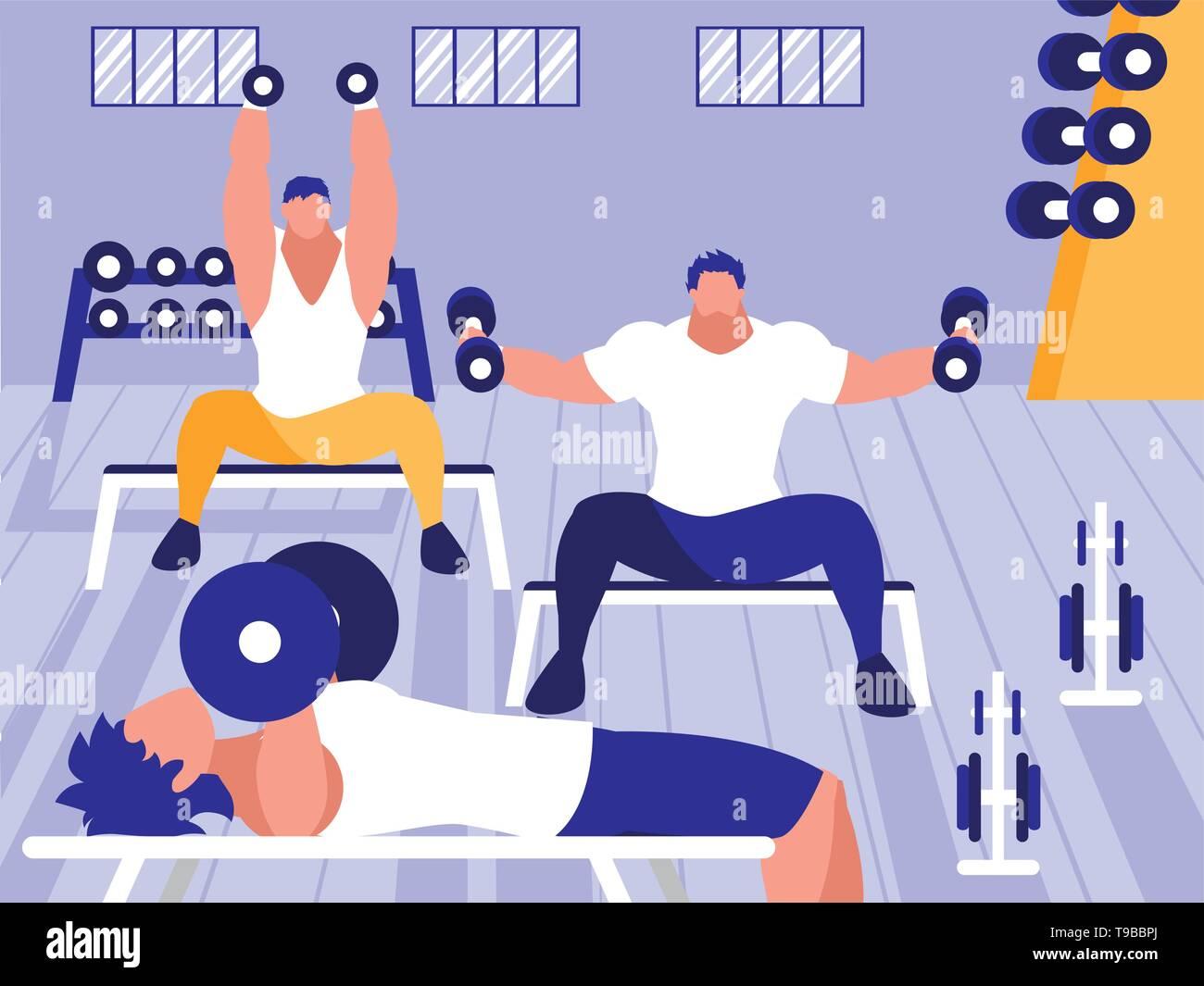 young men lifting dumbbells in gym vector illustration design - Stock Image