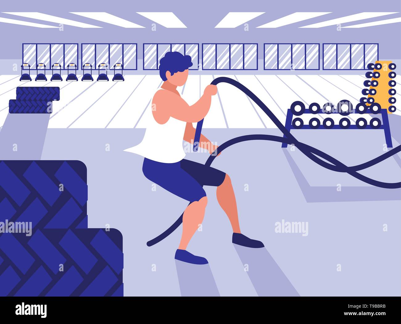 young athletic man with rope sport in gym vector illustration design - Stock Image