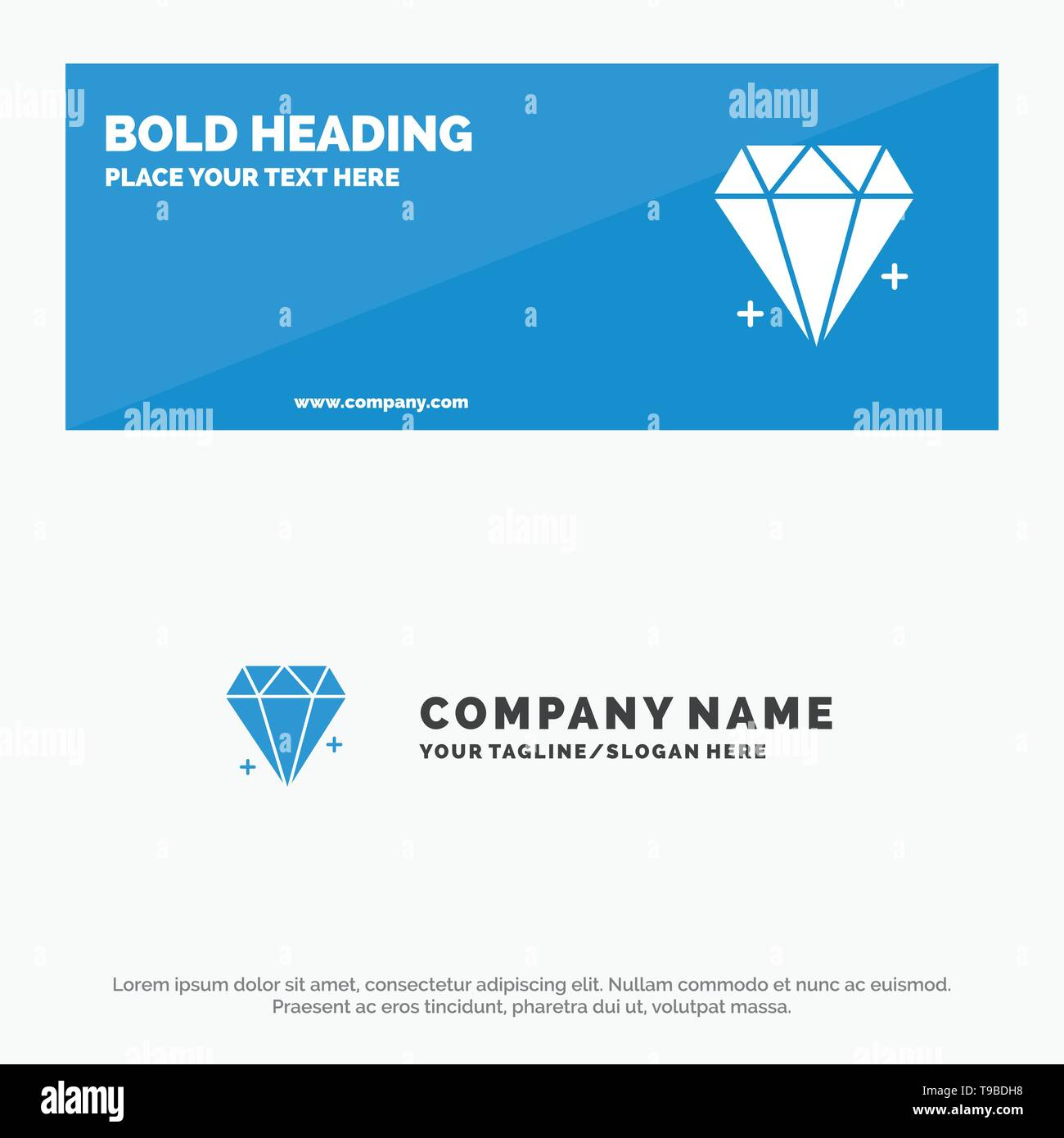 Diamond, Ecommerce, Jewelry, Jewel SOlid Icon Website Banner and Business Logo Template - Stock Image