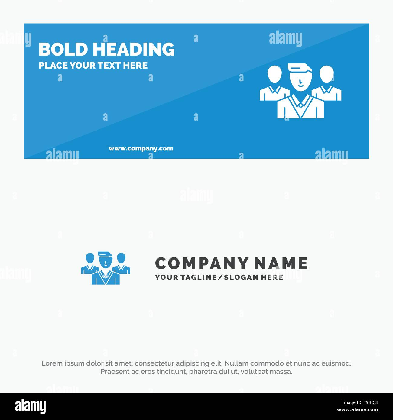 Staff, Security, Friend zone, Gang SOlid Icon Website Banner and Business Logo Template - Stock Image