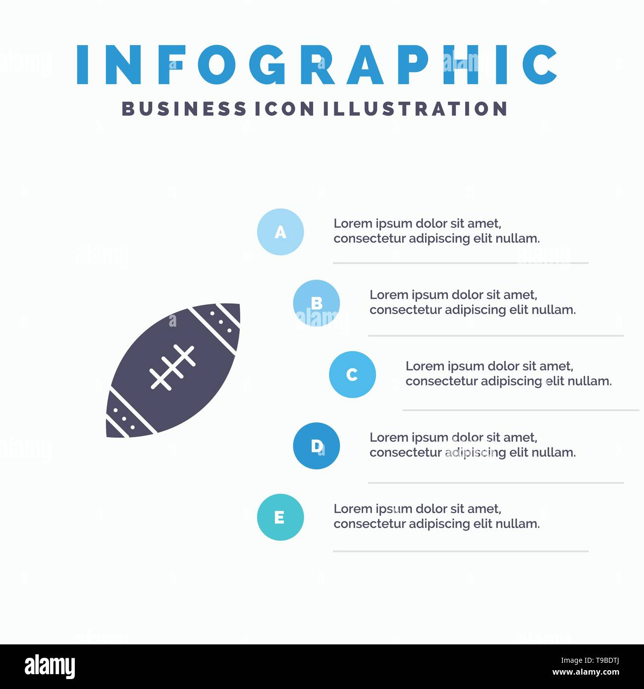 American, Ball, Football, Nfl, Rugby Solid Icon Infographics 5 Steps Presentation Background - Stock Image