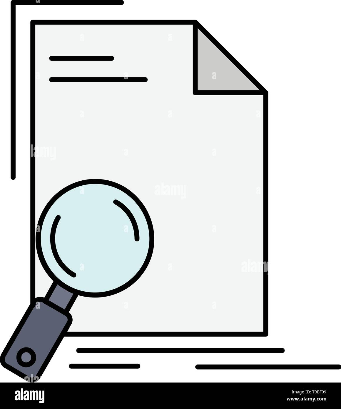 Analysis, document, file, find, page Flat Color Icon Vector - Stock Image