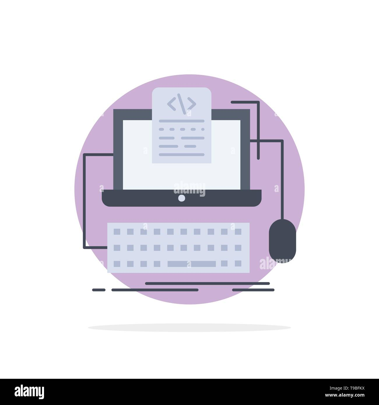 Code, coding, computer, monoblock, screen Flat Color Icon Vector - Stock Image