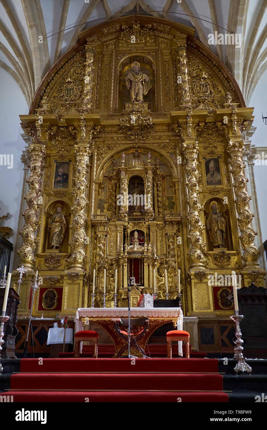Interior of Cathedral of Baeza (Catedral de la Natividad de Nuestra Señora de Baeza). Jaén province, Andalusia, Spain. Stock Photo