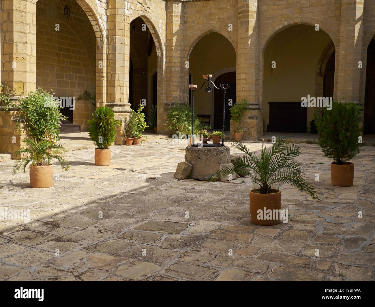 Patio of the Cathedral of Baeza, Jaén, Andalusia, Spain. Stock Photo