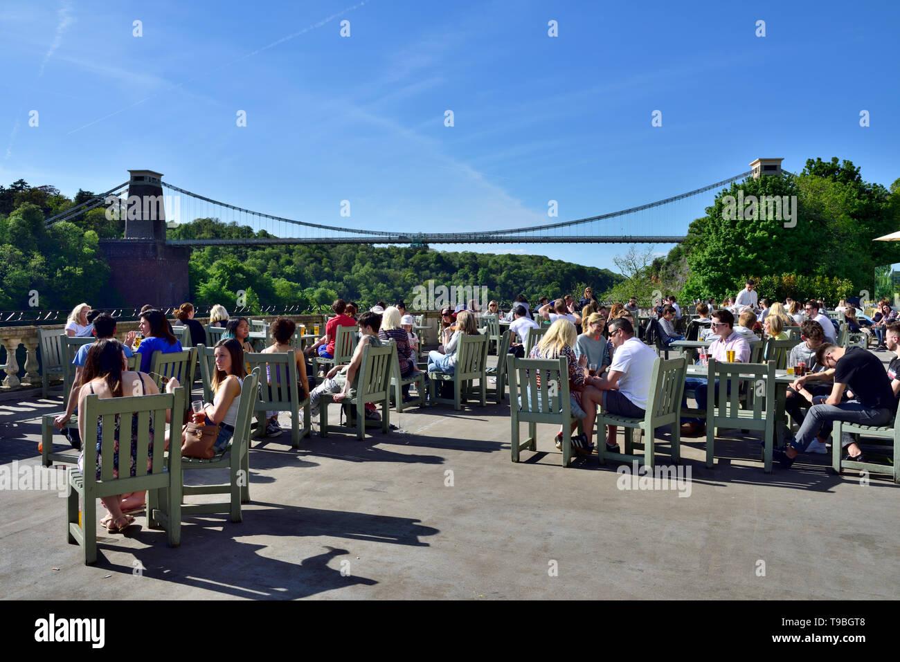 View of Bristol suspension bridge from terrace bar at White Lion pub in Avon Gorge Hotel, UK Stock Photo
