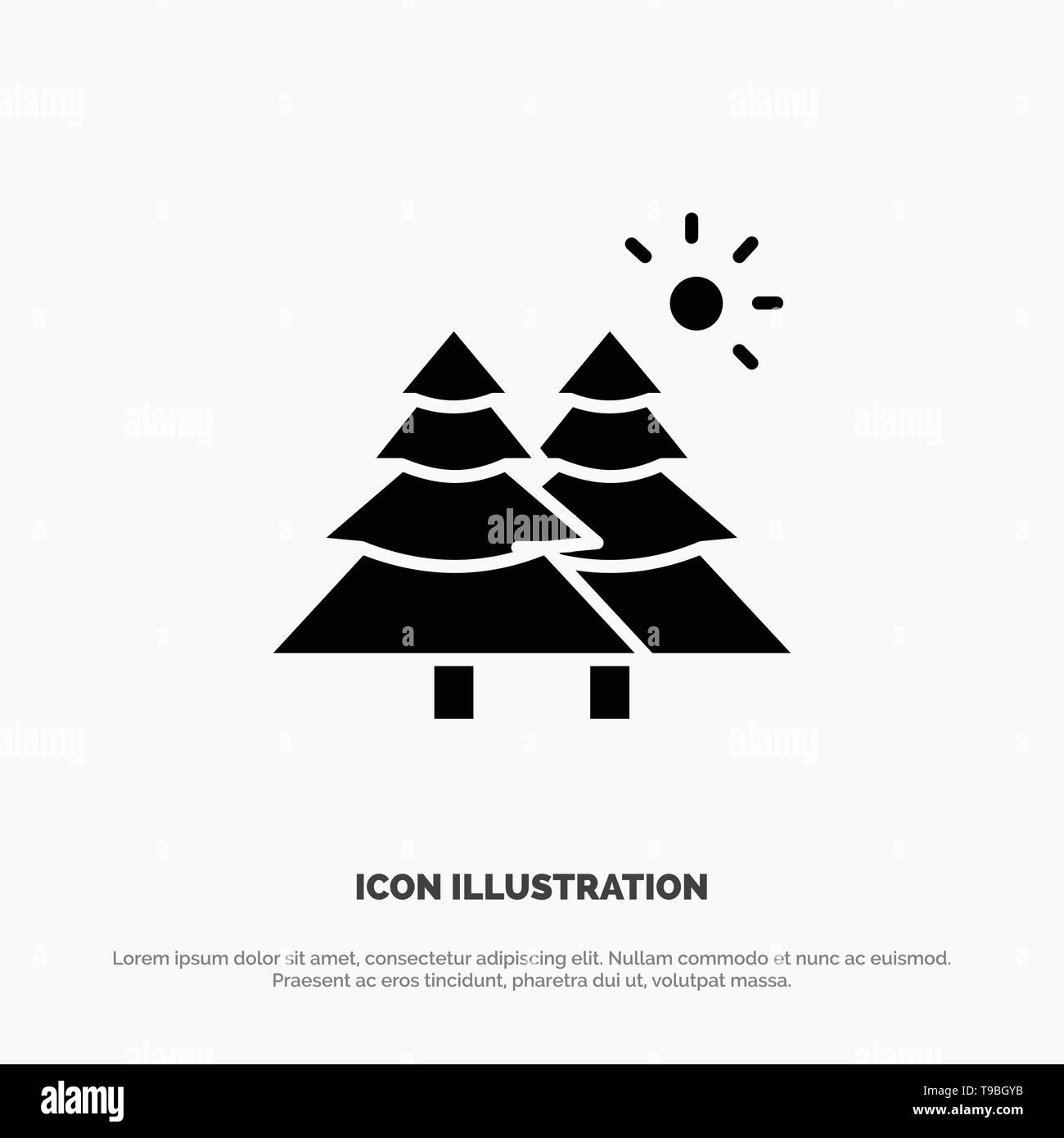 Fir, Forest, Nature, Trees Solid Black Glyph Icon - Stock Image