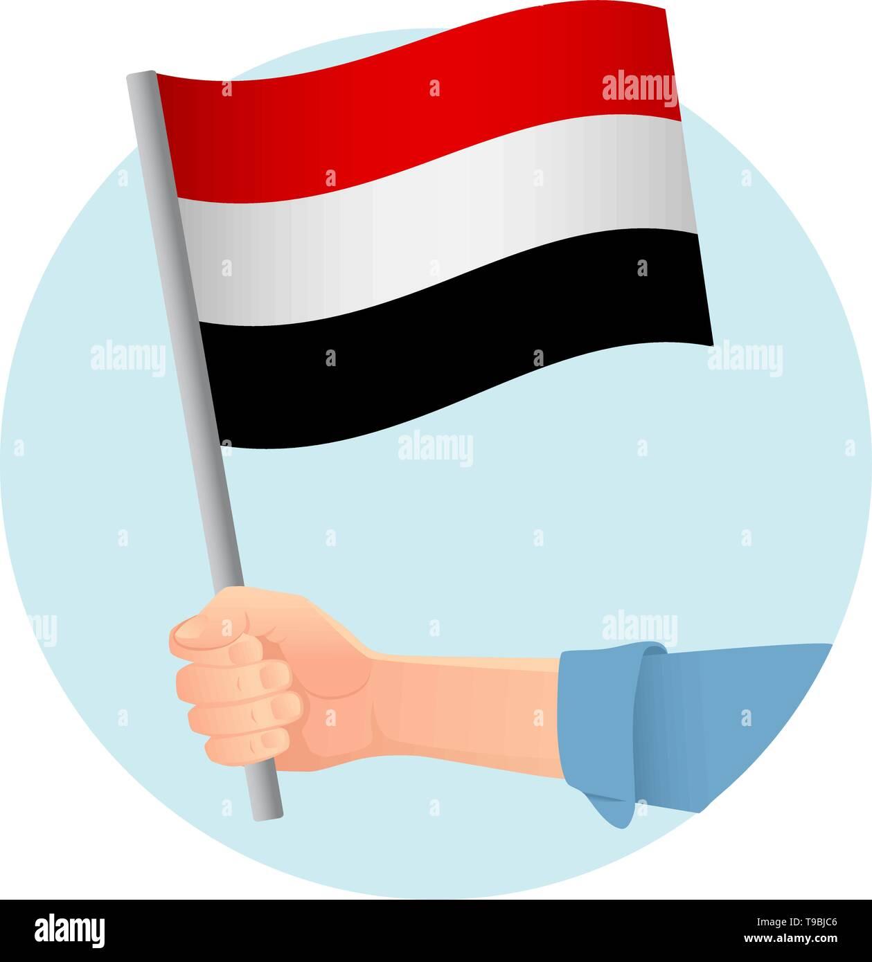 Yemen flag in hand. Patriotic background. National flag of Yemen vector illustration - Stock Vector