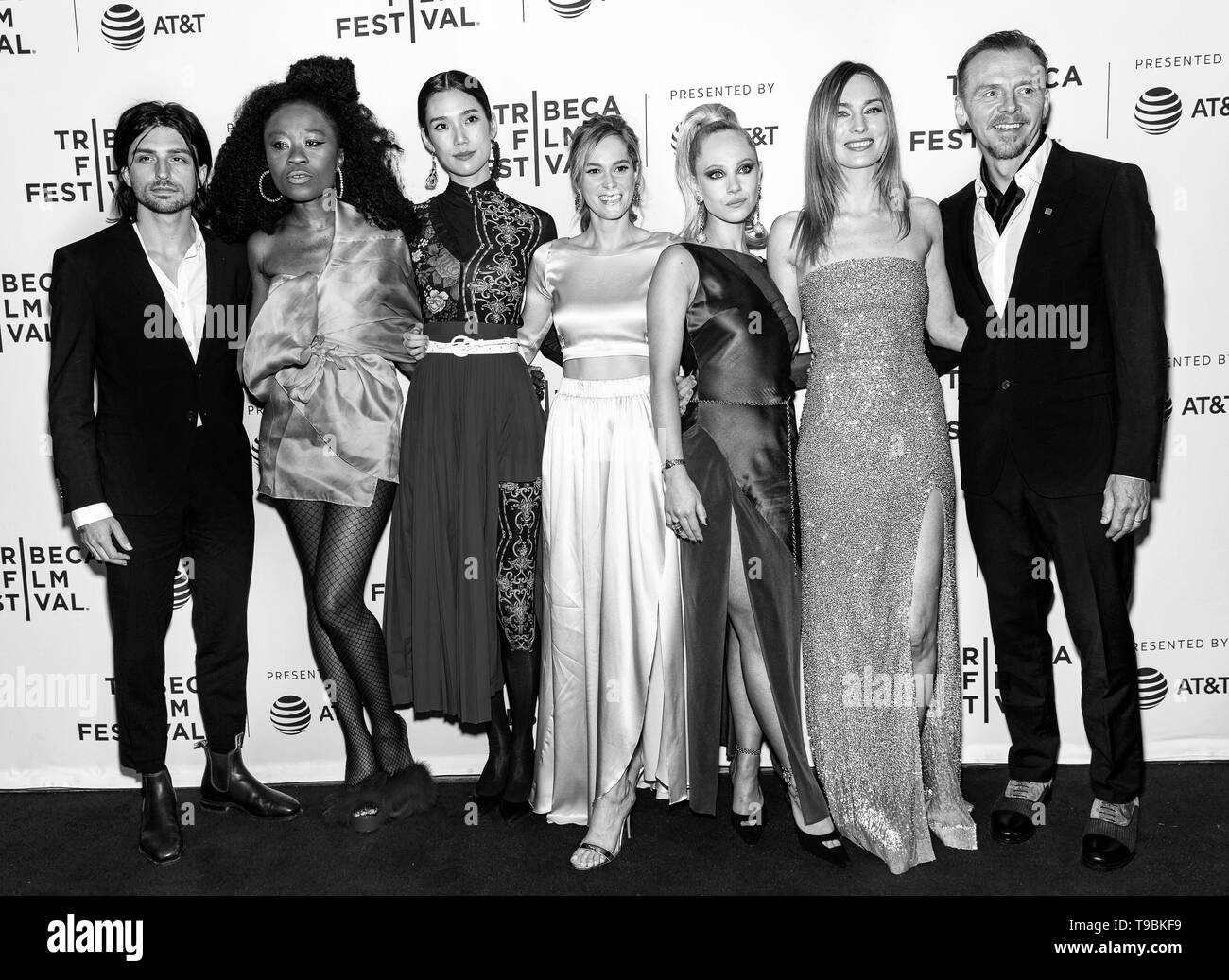 New York, NY - April 28, 2019: Jacob Loeb, Nana Ghana, Tao Okamoto, Daisy Bishop, Juno Temple, Katharine O'Brien and Simon Pegg attend the 'Lost Trans - Stock Image