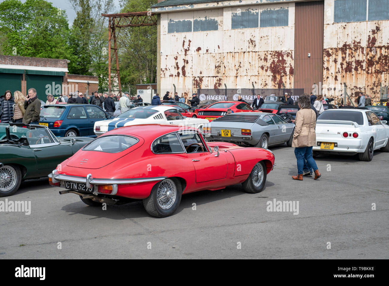 E type Jaguar and other classic cars at Bicester Heritage Centre. 'Drive it day'. Bicester, Oxfordshire, England - Stock Image