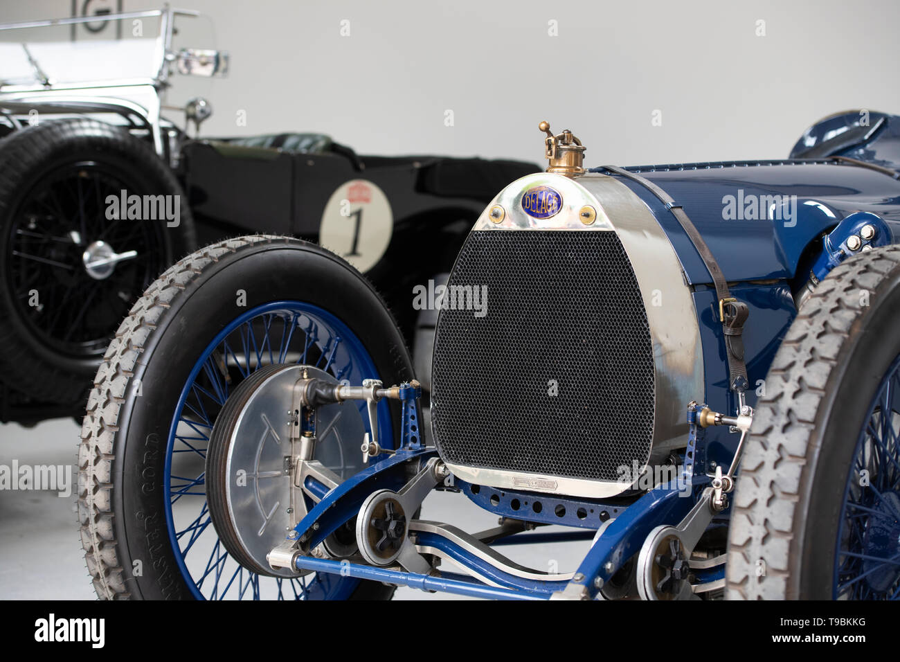 Vintage 1923 Delage Bequet racing car in a showroom at Bicester Heritage Centre 'Drive It Day'. Bicester, Oxfordshire, England - Stock Image