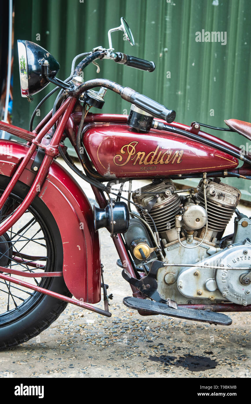 1930 Indian 101 Scout motorcycle. at Bicester Heritage Centre 'Drive It Day'.  Bicester, Oxfordshire, England. - Stock Image