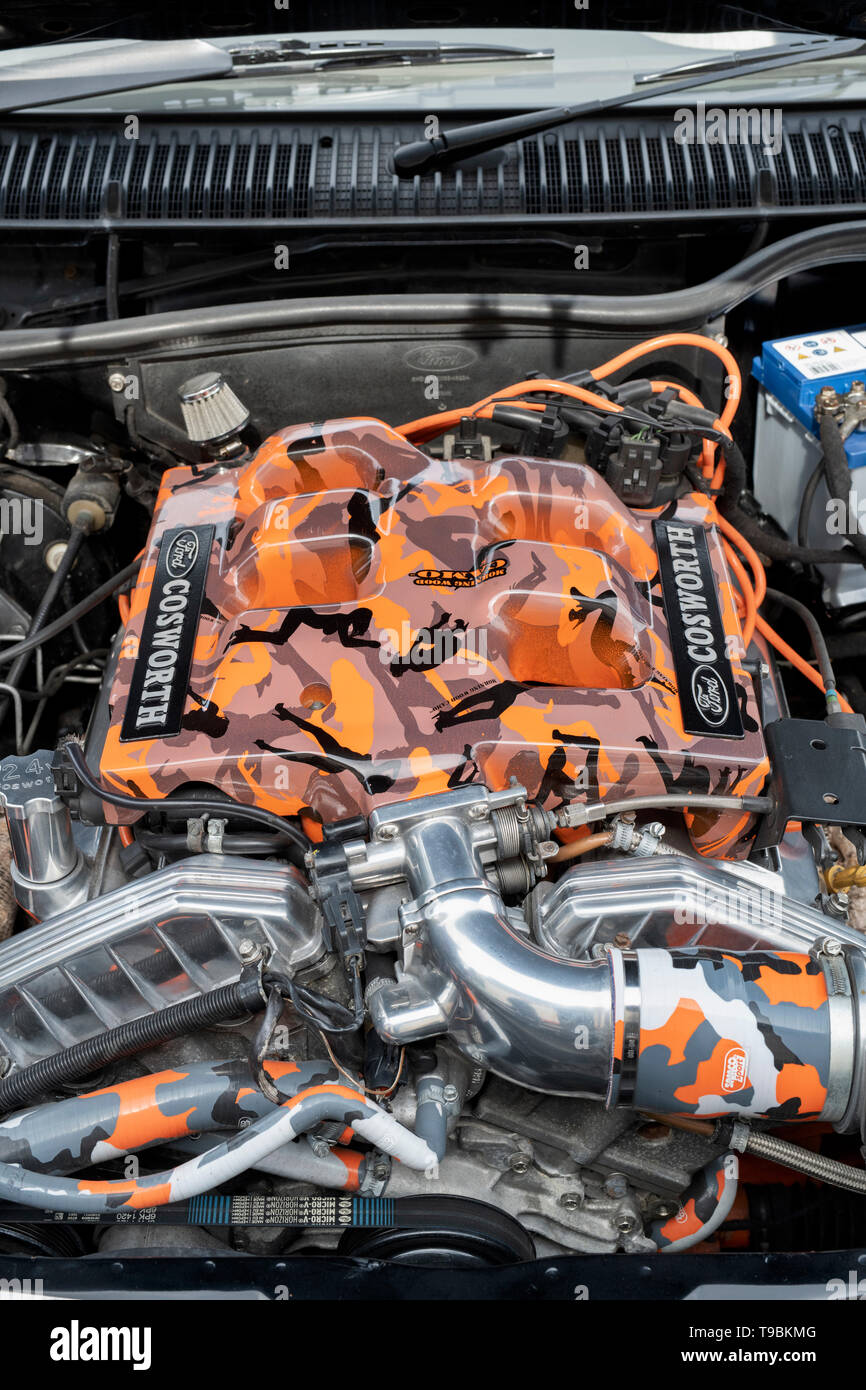 Ford Cosworth Engine with orange cameo paintwork at Bicester