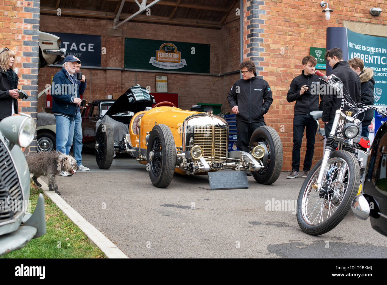 The craftsman car built by lamb engineering outside a garage at Bicester Heritage Centre 'Drive It Day'.  Bicester, Oxfordshire, England. - Stock Image