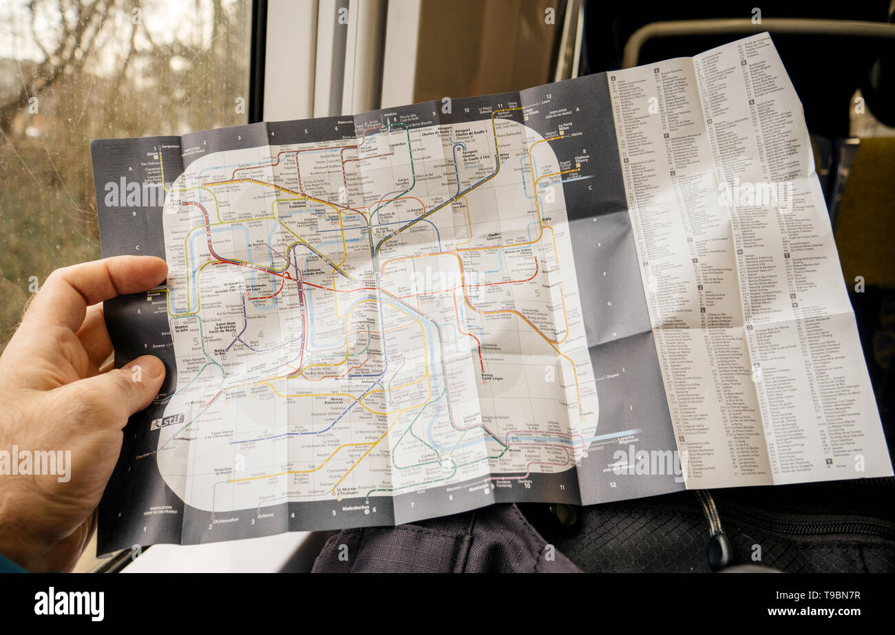 Map Of France With City Names.Paris France Jan 30 2018 Man Reading In Fast Rer Train Map Of