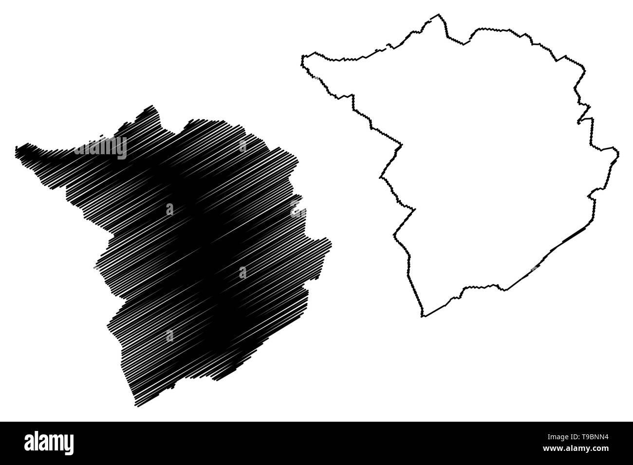 Tlemcen Province (Provinces of Algeria, Peoples Democratic Republic of Algeria) map vector illustration, scribble sketch Tlemcen map - Stock Image