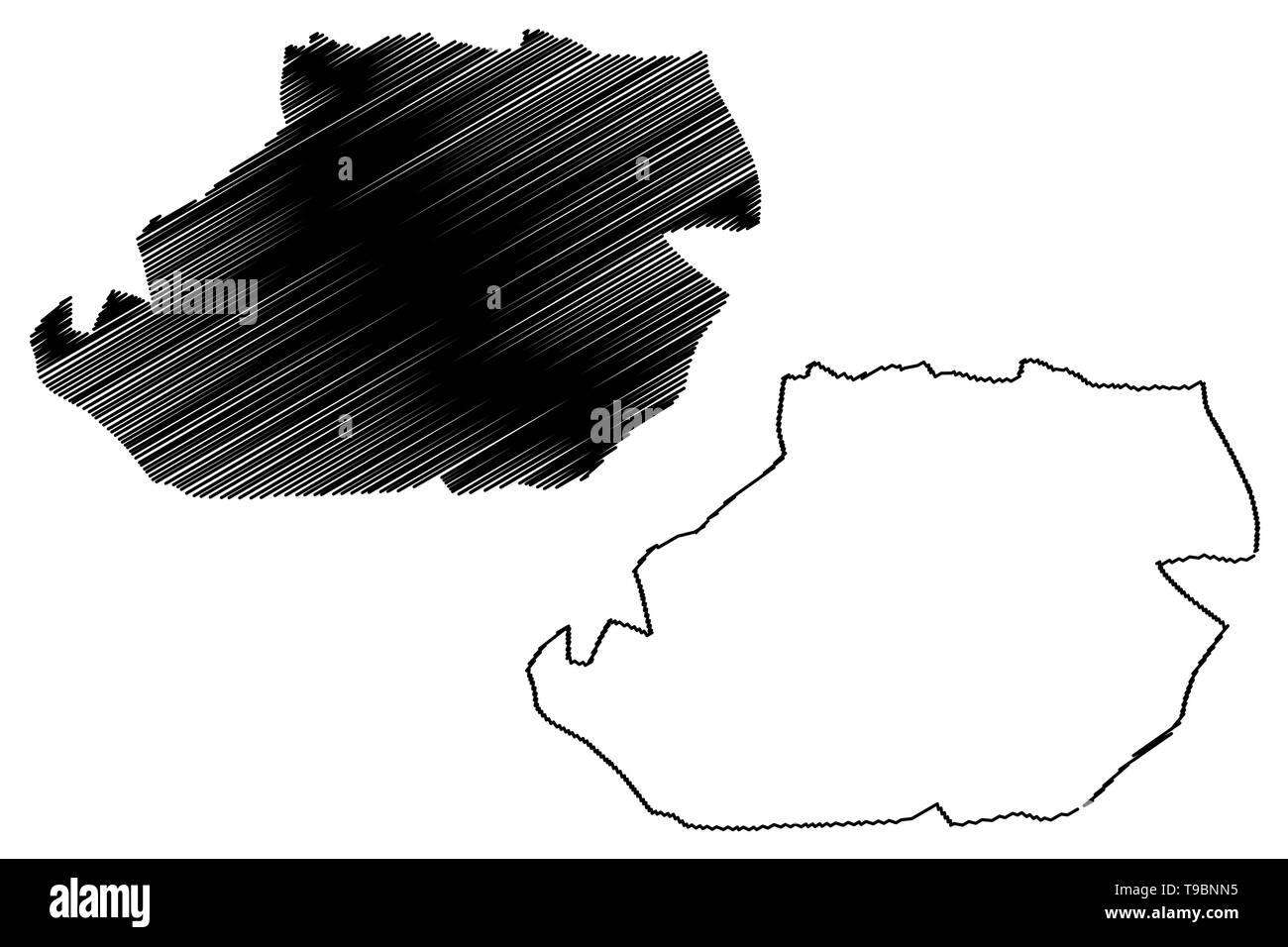 Tizi Ouzou Province (Provinces of Algeria, Peoples Democratic Republic of Algeria) map vector illustration, scribble sketch Tizi Ouzou map - Stock Image