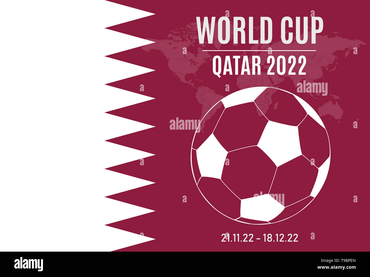 illustration of the 2022 soccer world cup in qatar. Flag with soccer ball and world in the background - Stock Image