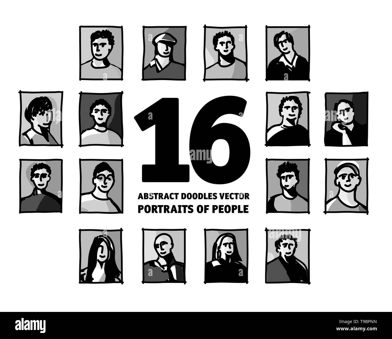 Doodles people portraits set avatars faces monochrome. Black and white vector illustration EPS8 - Stock Image