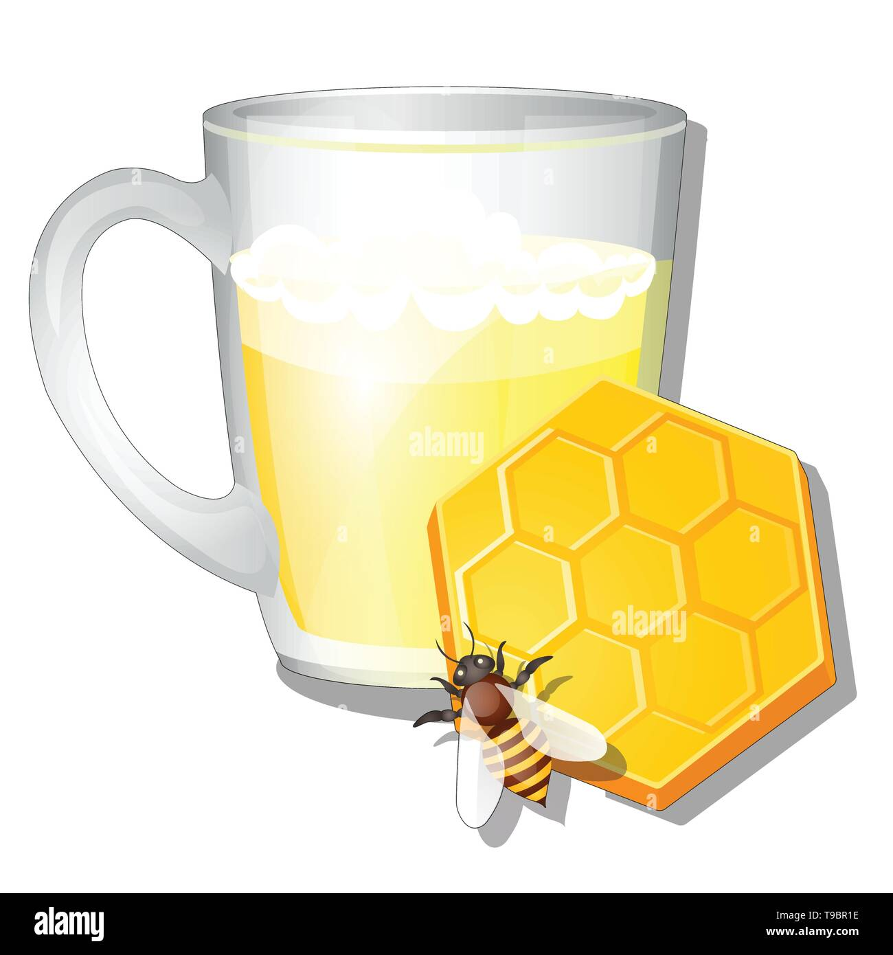 A glass mug of milk and honey isolated on white background. Delicious and natural healthy food. Vector cartoon close-up illustration. - Stock Image