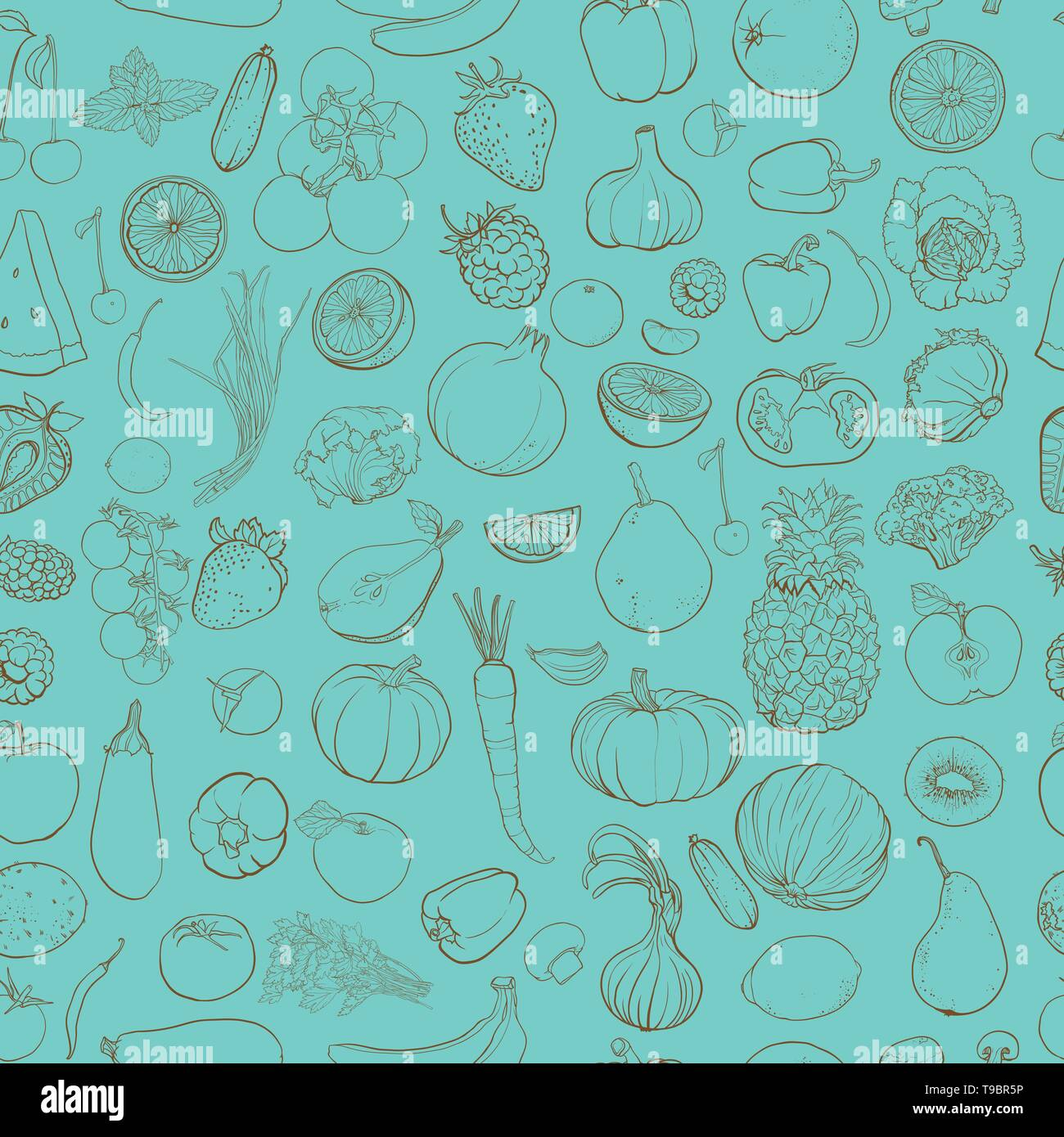 Seamless vector pattern with contour drawing of vegetables, fruit, berries. Background with food ingredients. eps 10 - Stock Vector