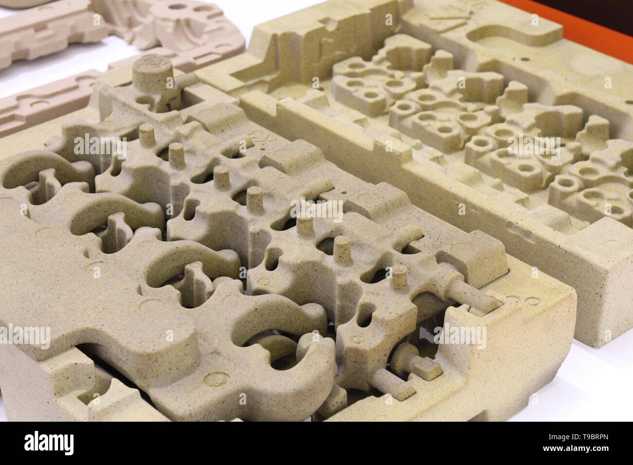 Products foundry industry. Making molds and cores. Organic binders for cold amine curing processes. Factory, production. - Stock Image