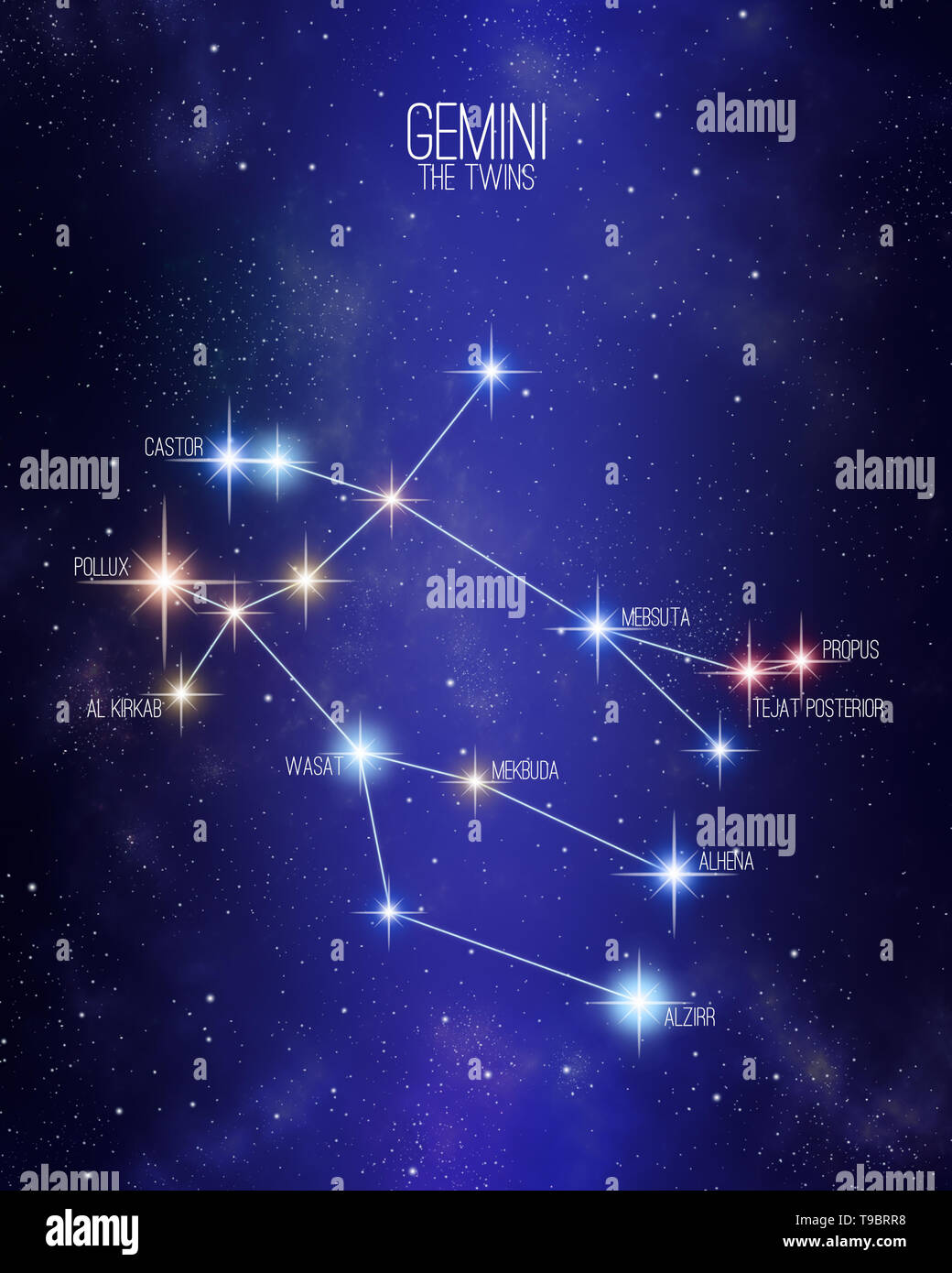 Gemini The Twins Zodiac Constellation Map On A Starry Space
