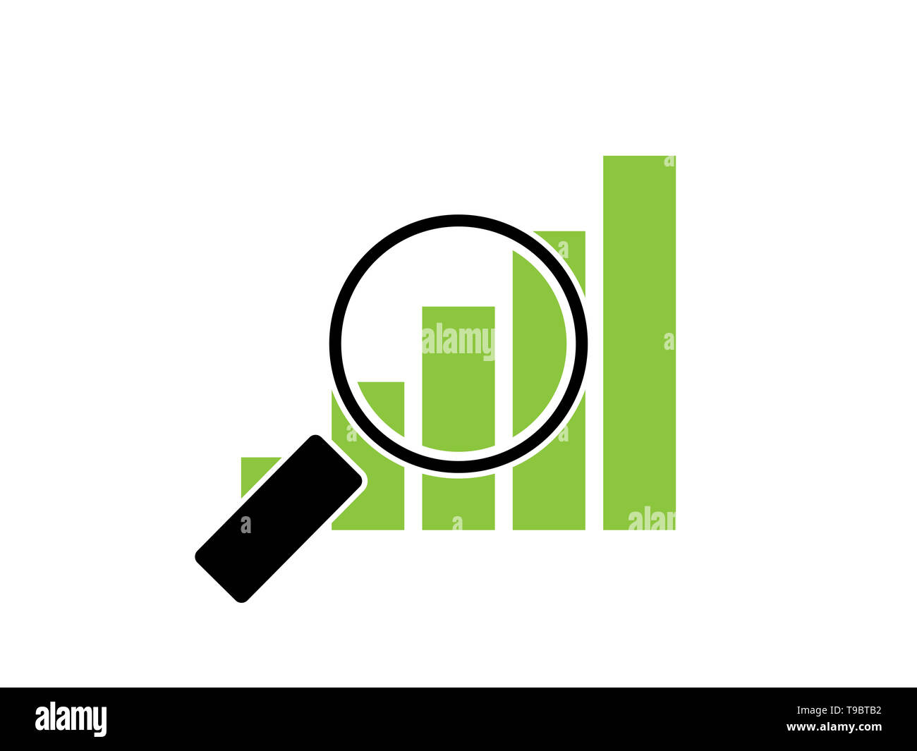 Green gorwing rising graph under magnifying glass. - Stock Image